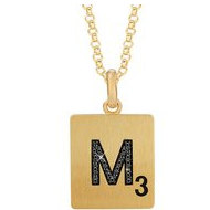 Scrabble Black Diamond Letter  M  with 18 Inch Necklace