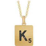 Scrabble Black Diamond Letter  K  with 18 Inch Necklace