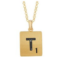 Scrabble Black Diamond Letter  T  with 18 Inch Necklace