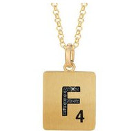 Scrabble Black Diamond Letter  F  with 18 Inch Necklace
