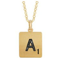 Scrabble Black Diamond Letter  A  with 18 Inch Necklace
