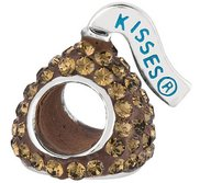 Sterling Silver HERSHEY S KISSES 3D Brown Swarovski Crystal Bead Charm