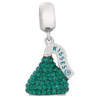 Sterling Silver HERSHEY S KISSES 3D Teal Swarovski Crystal Bead Charm