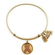 Wind   Fire  Awareness Ribbon  Pink Charm  Expandable Bracelet
