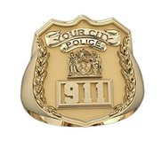 Personalized Police Ring w  Badge Number   Department