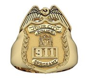 New York Police Sergeant Badge Ring w  Number   Department
