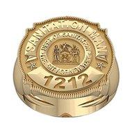 New York Personalized Sanitation Badge w/ Number, Department, & Rank