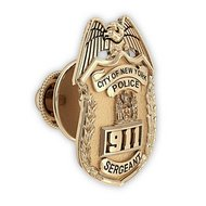 Personalized New York Sergeant Badge Tie Tac w/ Your Number & Department