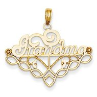 14k Yellow Gold I Love Grandma Pendant