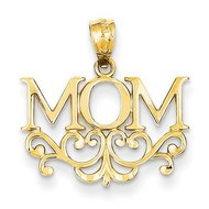 14k Yellow Gold Floral Mom Pendant