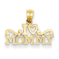 14k Yellow Gold I Love Mommya Pendant