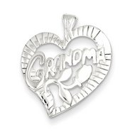Sterling Silver Polished Grandma Heart Pendant