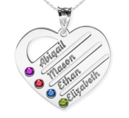 Personalized Heart Family Tree Pendant With Four Birthstones   Names