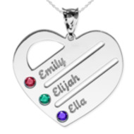 Personalized Heart Family Tree Pendant With Three Birthstones   Names