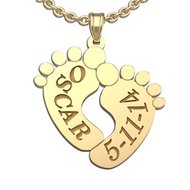 Personalized Baby Footprints Pendant with Names and Birthdate
