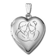 14k White Gold   Sisters Devotion    Hearts Locket