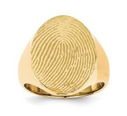Mens Custom Oval Fingerprint Signet Ring