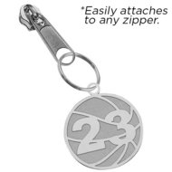 Exclusive Zipper Pull Basketball Charm w  Custom Numbers