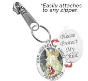 Exclusive Zipper Pull Guardian Angel Color Religious Medal