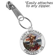 Exclusive Zipper Pull Saint Michael Color Religious Medal