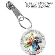 Exclusive Zipper Pull Saint Christopher Color Religious Medal