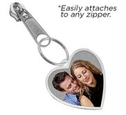 Exclusive Zipper Pull Medium Heart with Border Photo Charm