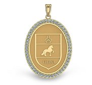 Friesian Diamond Studded Horse Breed Oval Medal    EXCLUSIVE