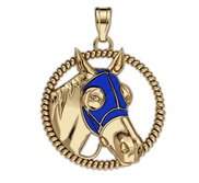 RaceHorse with Blinder Color Mask on a Round Rope Frame Horse Jewelry Pendant or Charm