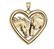 RaceHorse Love on a Smooth Heart Shaped Frame Horse Jewelry Pendant or Charm