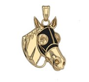 RaceHorse with Blinder Mask Horse Pendant w  Color of Your Choice