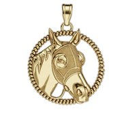 RaceHorse with Blinder Mask on a Round Rope Frame Horse Jewelry Pendant or Charm