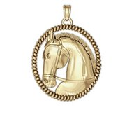 Ravel Racehorse on an Oval Rope Frame Horse Jewelry Pendant or Charm