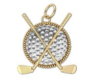 Two Tone Golf Ball   Clubs Round Rope Frame Golf Jewelry Pendant or Charm