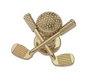 Golf Ball with Crossed Clubs Tie Tac Golf Jewelry