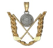 Engravable Two Tone Golf Crest Pendant