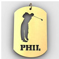 Personalized Male Golfer Name Dog Tag Cut-Out Pendant