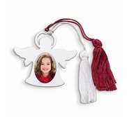 Personalized Nickel plated Photo Angel Ornament w  Red and White Tassel