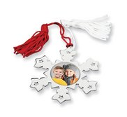 Personalized Nickel plated Photo Snowflake Ornament w  Red and White Tassel