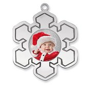 Personalized Sterling Silver Photo Snowflake Ornament w  Red and White Tassel