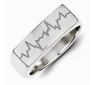 Womens Rectangle Custom Heartbeart Signet Ring
