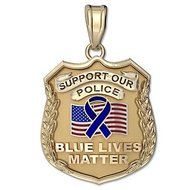 """Support Our Police """"Blue Lives Matter"""" Charity Badge w/ Enameled US Flag"""