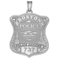 Personalized Boston Police Badge w/ Your Number & Rank