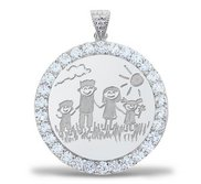 Sterling Silver   CZ Premium Round Laser Engraved Pendant
