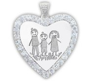 Sterling Silver   CZ Premium Heart  Laser Engraved Pendant