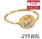 Exclusive  The Talk  Oval Photo Engraved Bangle Bracelet