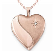 Sterling Silver Rose Gold Plated Heart Locket w  Diamond