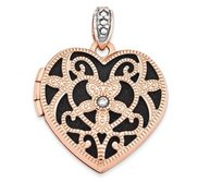 14k Rose Gold Heart w Diamond Vintage Locket