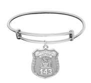 Police Mom  Police Badge w  Officer s Number Expandable Bracelet