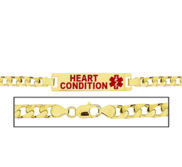 Women s Curb Link  Heart Condition  Medical ID Bracelet