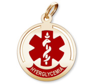 Round Medical  Hyperglycemia  Pendant or Charm